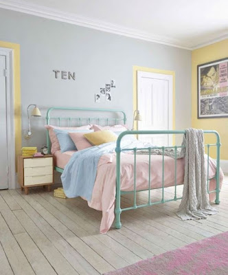 Bedroom interior with pastel colors idea