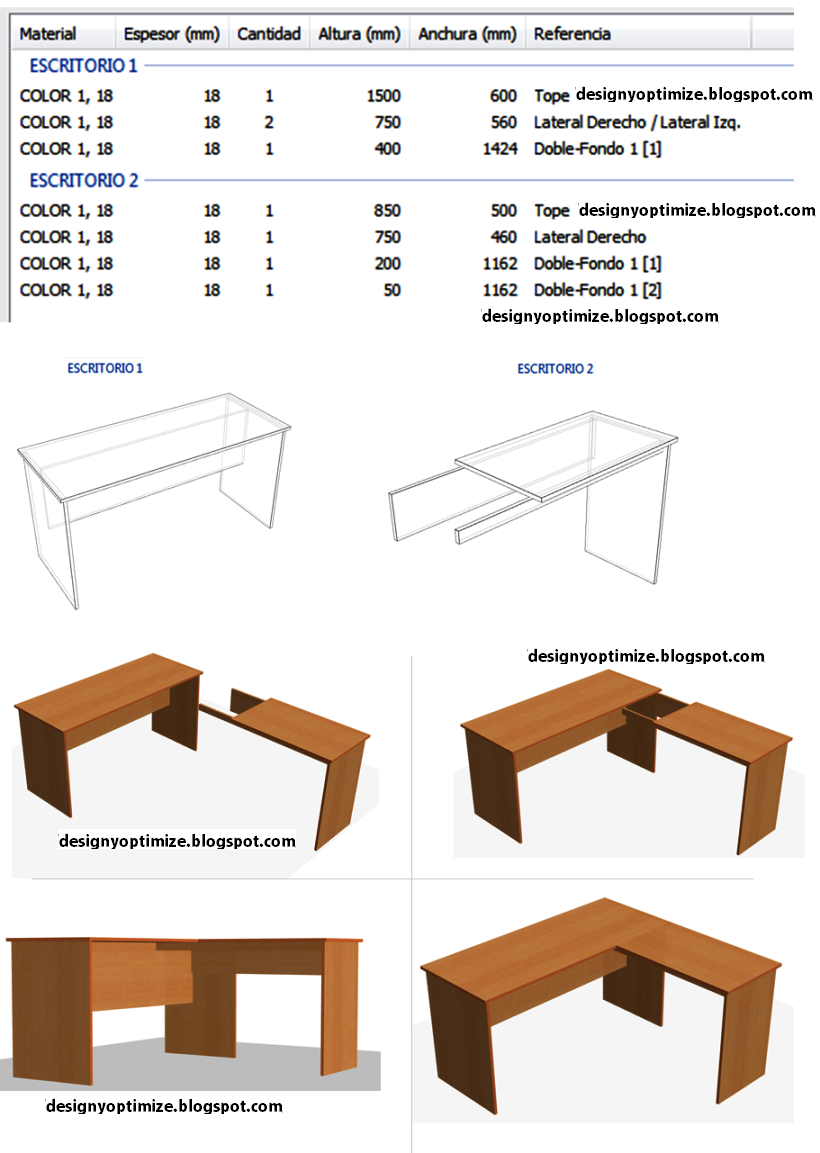 Dise o de muebles madera c mo construir escritorio para for Medidas de un escritorio de oficina