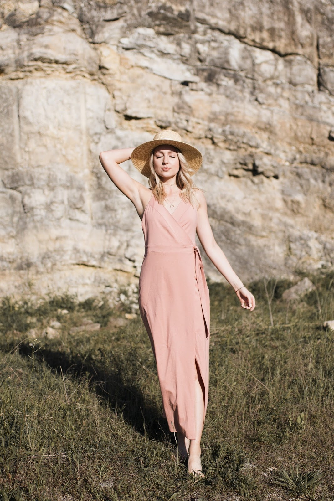 pretty pink wrap dress