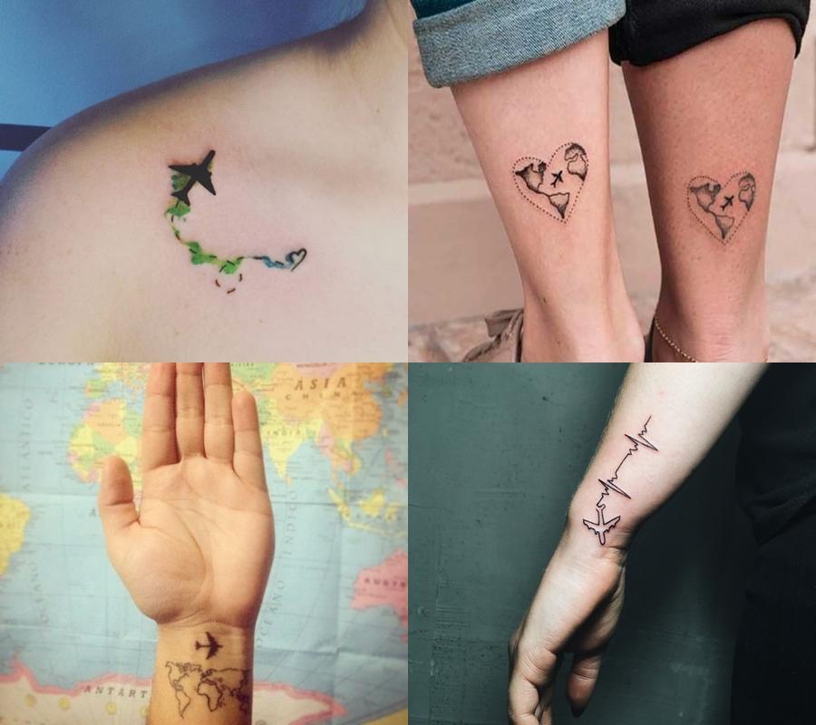 tatuagem de avião delicada