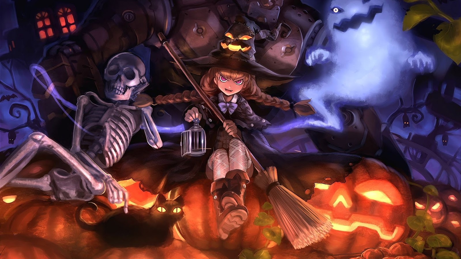 Halloween Witch Flying HD desktop wallpaper Widescreen High