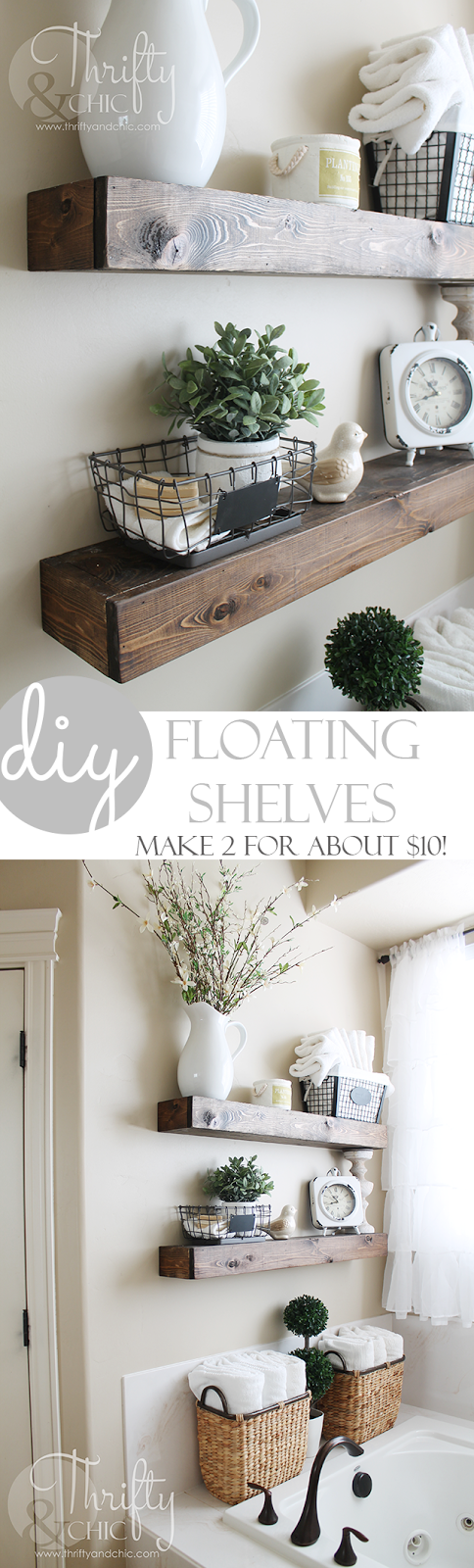 DIY wood floating shelves for under $10! Farmhouse style shelves and decor