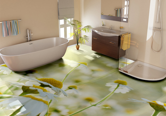 floral 3D bathroom floor
