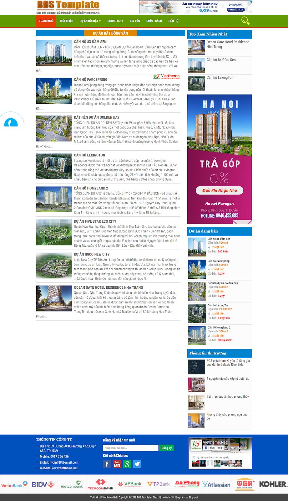 BĐS Template - Mẫu giao diện bất động sản chuyên nghiệp cho Blogspot
