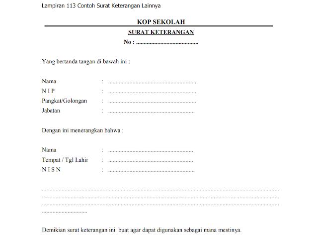 Contoh surat keterangan dari kepala sekolah untuk siswa
