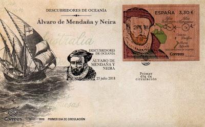 Sobre Primer Día del sello de madera dedicado a Álvaro de Mendaña y Neira