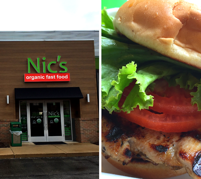 Enjoying the first organic fast service restaurant at Nic's Organic in Rolling Meadows, Illinois