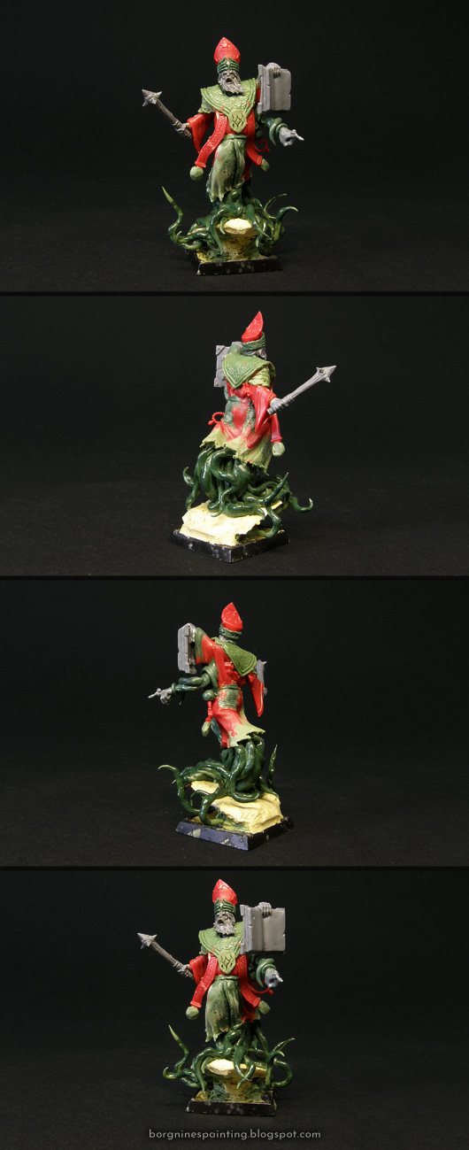 A compilation of photos showing WH40k miniature converted to be used as a pagan, flesh-horror-related priest. Original parts of the miniature are red, kitbashed elements are grey - with greenstuff showing all the sculpted parts. The miniature is visible from several angles.