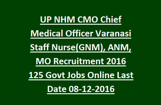 UP NHM CMO Chief Medical Officer Varanasi Staff NurseGNM ANM – Chief Medical Officer Job Description