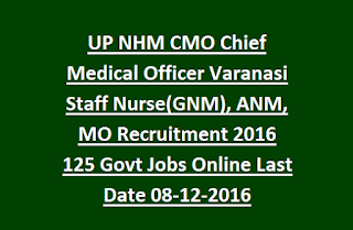 UP NHM CMO Chief Medical Officer Varanasi Staff Nurse(GNM), ANM, MO Recruitment 2016 125 Govt Jobs Online Last Date 08-12-2016