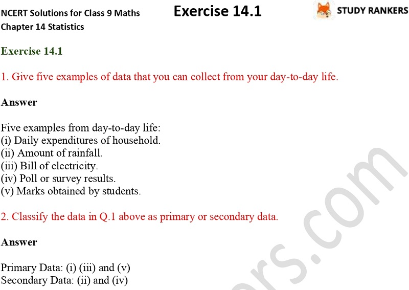 NCERT Solutions for Class 9 Maths Chapter 14 Statistics Exercise 14.1