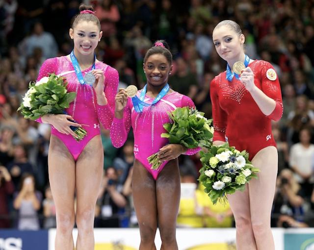 Medalhistas no pódio do individual geral 2013