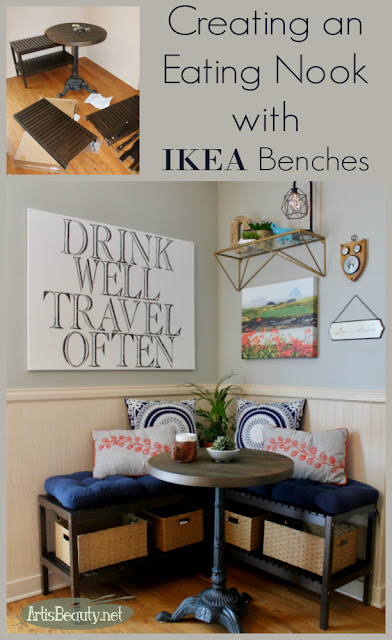 CREATING AN EATING NOOK BOOTH WITH IKEA BENCHES IKEA HACK DIY MAKEOVER KITCHEN ECLECTIC BOHO CHIC BOHEMIAN HOME DECOR