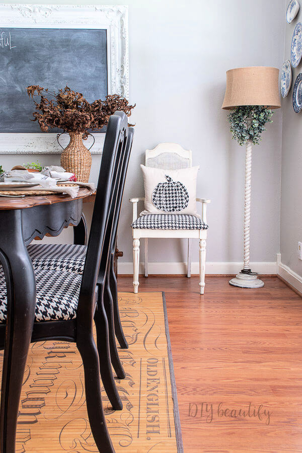 DIY hound tooth covered chairs and pillow