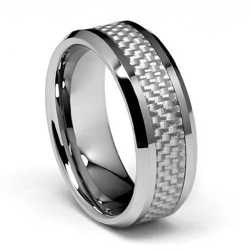 Mens Wedding Rings Tungsten Carbon Fiber