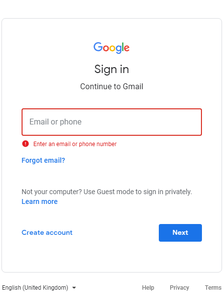 gmail sign in with email id and password