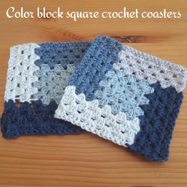 Color block square crochet coasters
