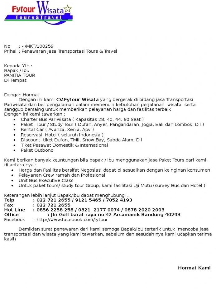 6. Contoh Surat Penawaran Jasa Transportasi