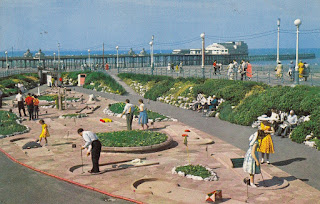 Crazy Golf Course and North Pier, Blackpool postcard. The Photographic Greeting Card Co Ltd. London. Posted to Manchester