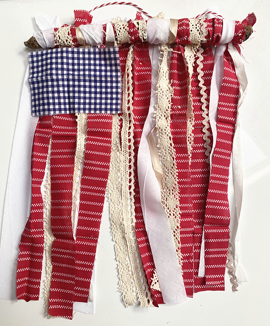 rag flag with red, white and blue