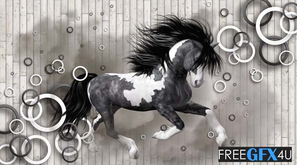 3D Horse Wall Background PSD Templates