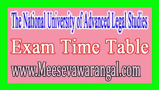 The National University of Advanced Legal Studies B.A LLB (Hons) Ist,3rd,7th & 9th Sem Supply Nov 2016 Exam Time Table