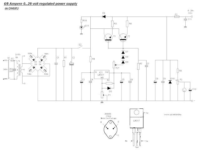 دائرة تغذية بجهد مستمر 0-28V وتيار 6-8A