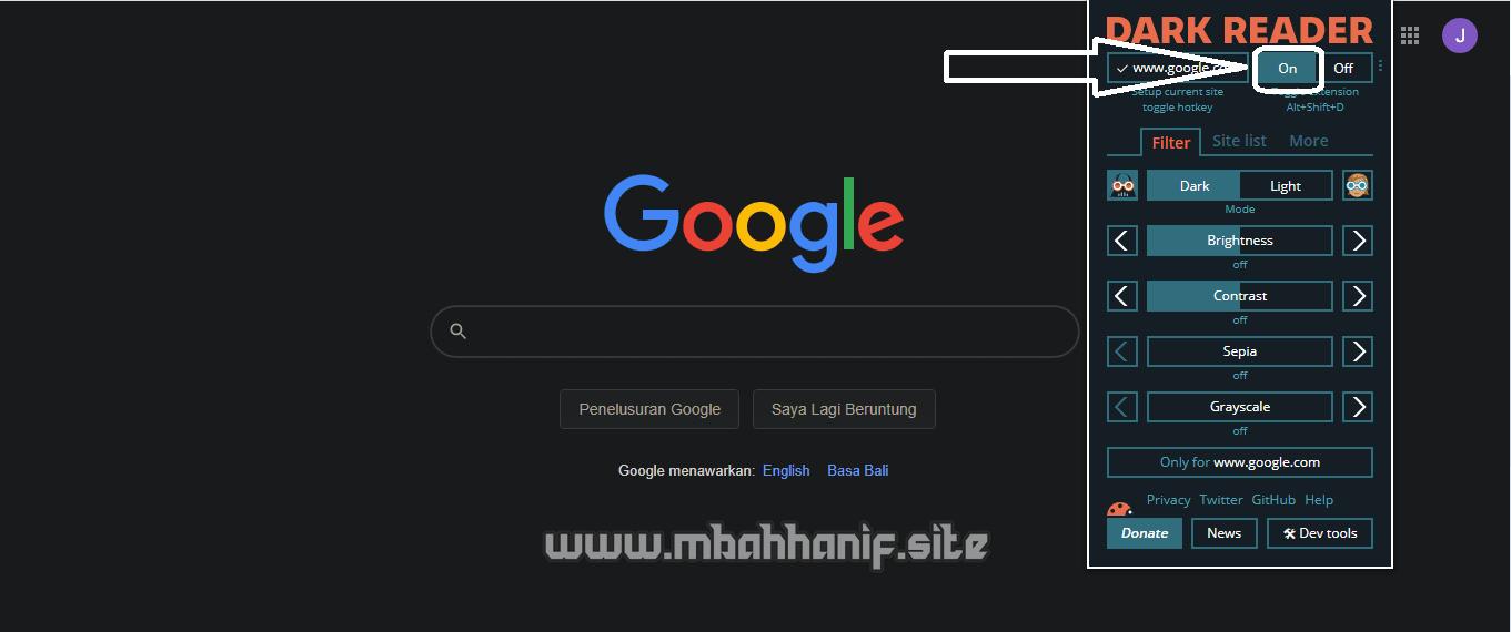 Dark mode Chrome sukses