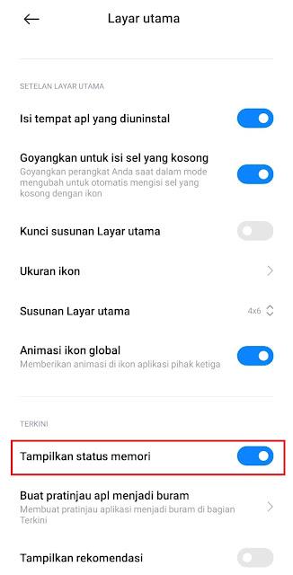 Cara Menampilkan Sisa RAM pada Reccent App di HP Xiaomi