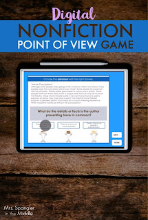 Your Middle School students will practice what they have learned about how to use point of view to analyze nonfiction text with this ready to use, NO PREP digital game! Students will use their knowledge to process key skills with a new text and even put together a paragraph using their skills.