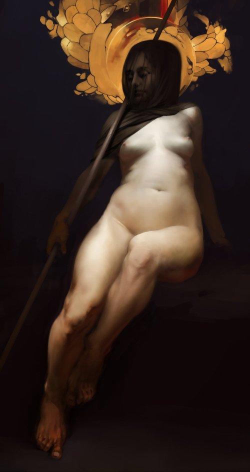 Igor Sid deviantart artstation ilustrações fantasia sombria medieval pinturas clássicas mulheres nuas nudez