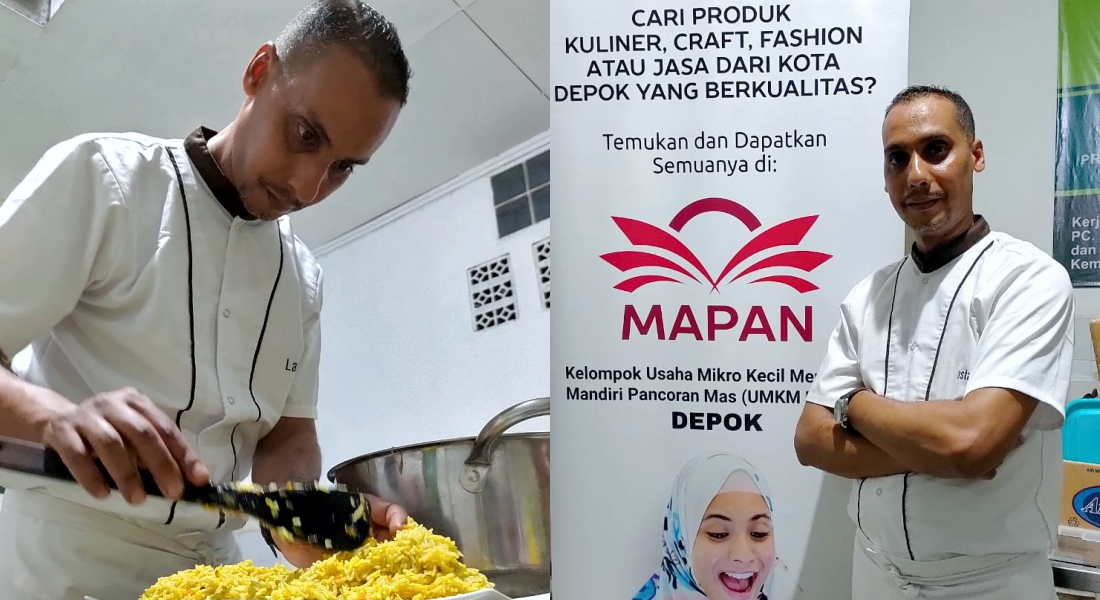 Chef Youssef membuat nasi mandhi di acara cooking class bersama UMKM MAPAN