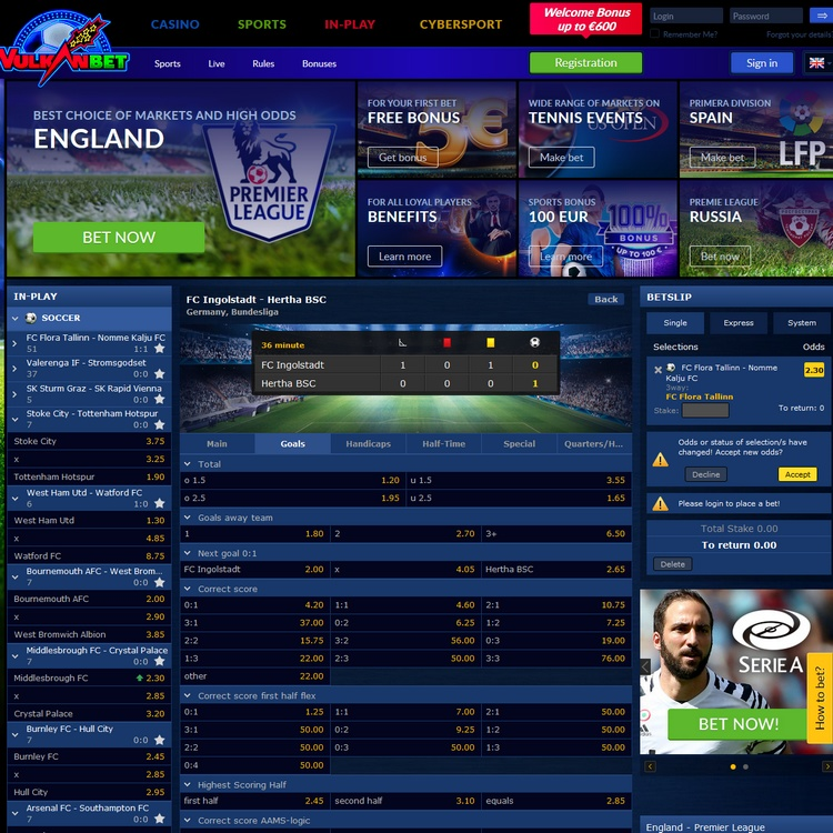 Vulkanbet Live Betting Offers