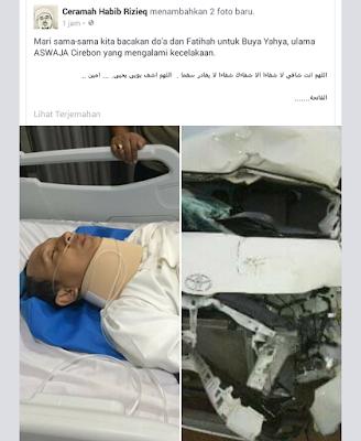 Buya yahya dirawat intensiv karena kecelakaan