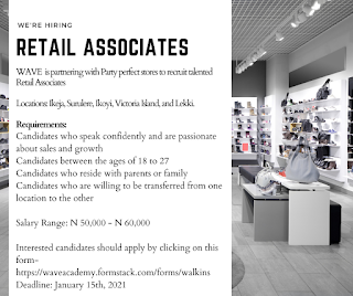 WE ARE LOOKING FOR A SUPERVISOR AND RETAIL ASSOCIATES