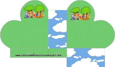 cajita abierta en forma de corazón,  Winnie de Pooh y sus amigos