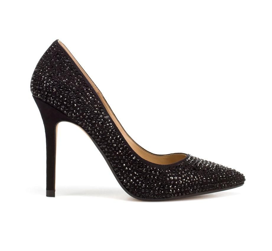 Zapatos negros con brillos  zapatos de moda