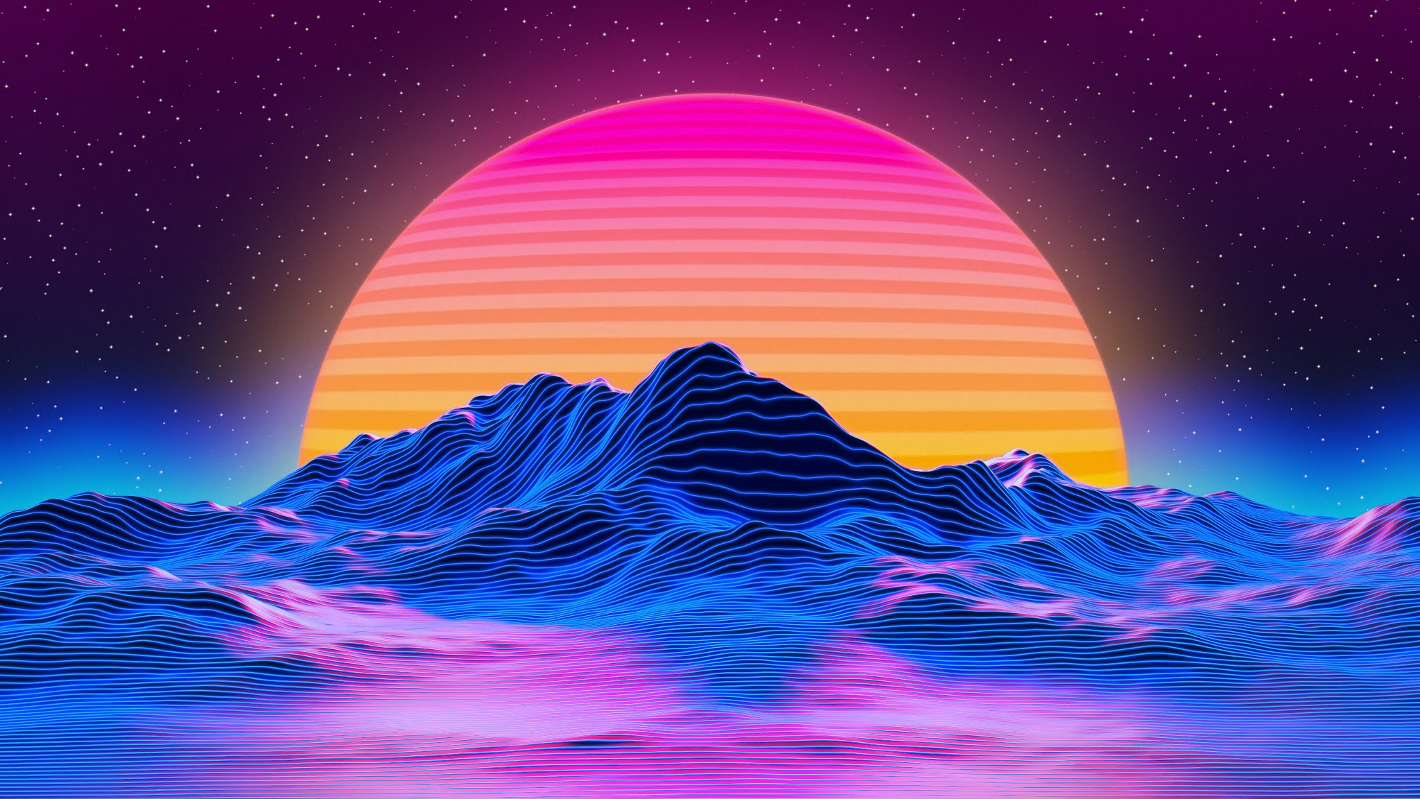 Retrowave mountains of lines stars and sun 5k Ultra HD Wallpaper