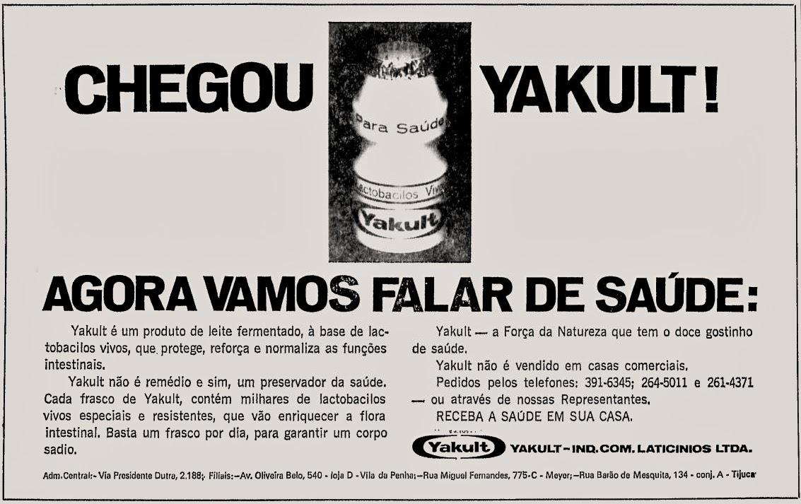 Propaganda do leite fermentado Yakult nos anos 70