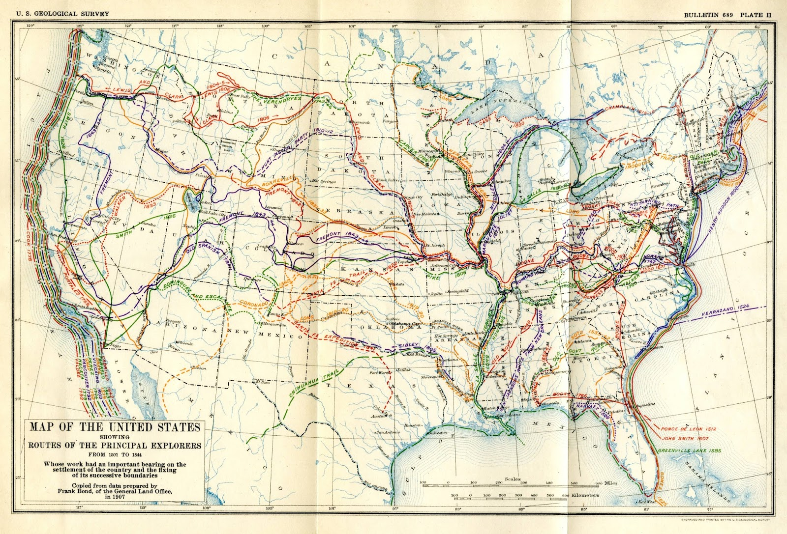Map of the U.S. showing Routes of Principal Explorers from 1501 to 1844. Engraved and printed by the U.S. Geological Survey, 1907.