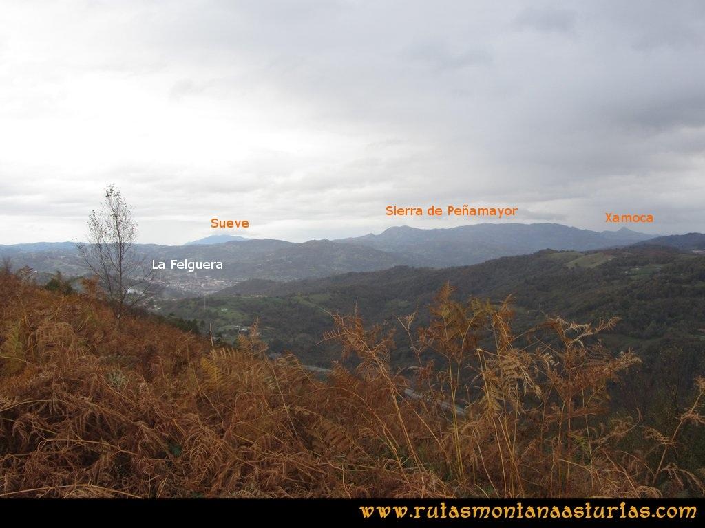 Ruta Olloniego Escobín: Vista de la Felguera, El Sueve, Sierra de Peñamayor y la Xamoca
