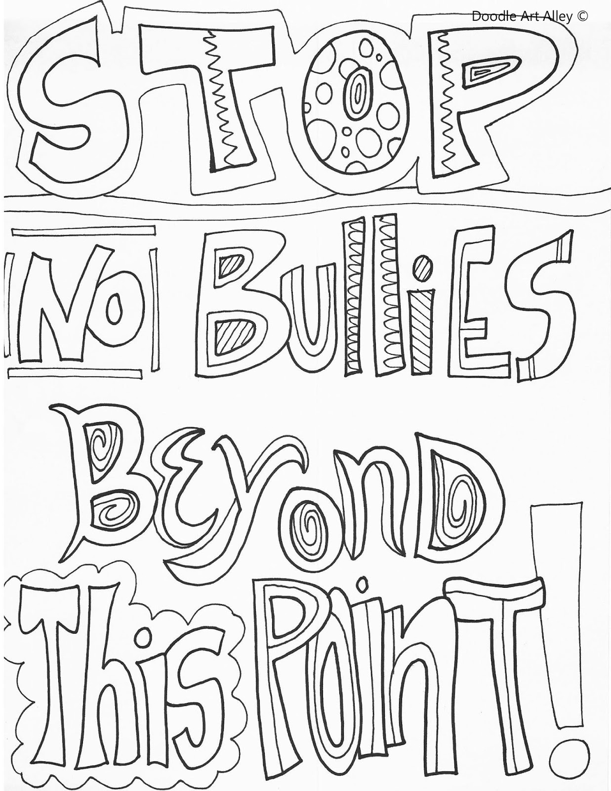 free stop bullying coloring pages | Counseling Corner