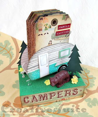 Lisa Hoel for Eileen Hull's Sizzix Ch. 2 Dies release! 3-D Camper with tag album  #eileenhull #eileenhulldesigns #eileenhullsizzix #ehinspirationteam #eheducators #Sizzix #mymakingstory #diecutting