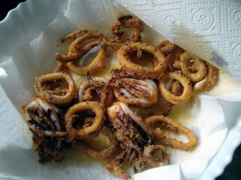 fried calamari on a paper towel