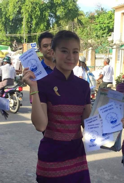 wutt hmone shwe yee compelled In 'Say No To Plastic Bags' campaign