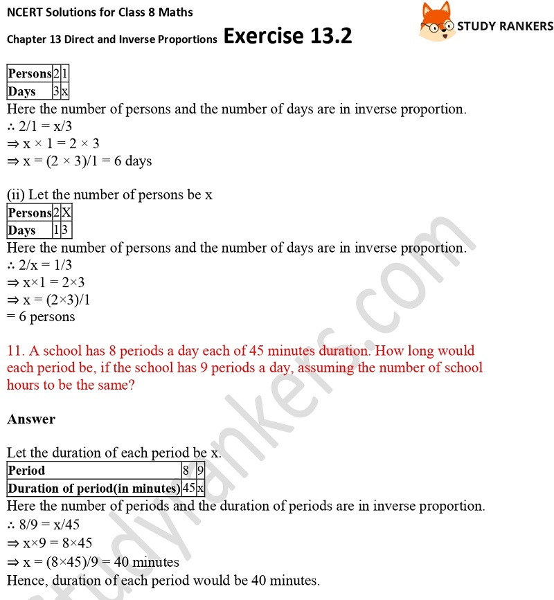 NCERT Solutions for Class 8 Maths Ch 13 Direct and Inverse Proportions Exercise 13.2 5