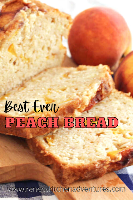 PIN with Close up of sliced peach bread with text for pinterest