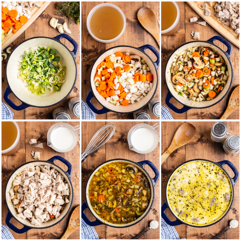 Six process photos of the making of Creamy Low Carb Turkey Stew