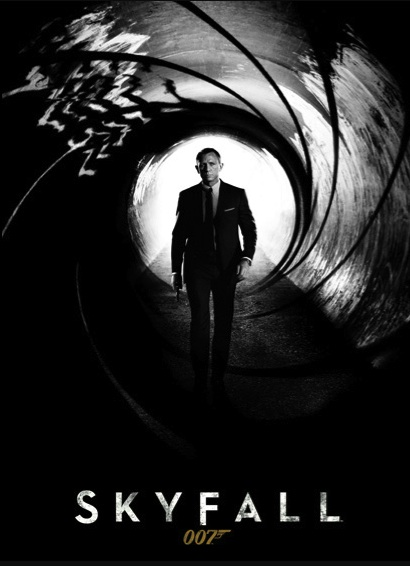 'Skyfall' movie poster with Daniel Craig walking through the barrel of a gun in standard Bond opening-sequence fashion