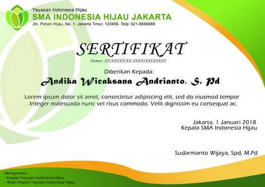 Desain Sertifikat formal hijau - yogiadiwebid